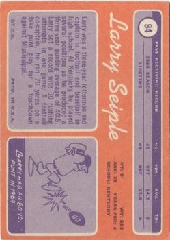 1970 Topps #94 Larry Seiple RC back image