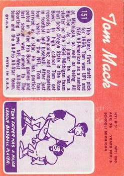 1970 Topps #151 Tom Mack RC back image
