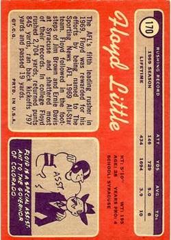 1970 Topps #170 Floyd Little back image