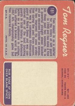 1970 Topps #181 Tom Regner RC back image