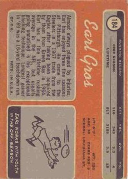 1970 Topps #184 Earl Gros back image