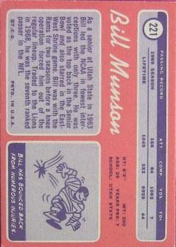 1970 Topps #221 Bill Munson back image