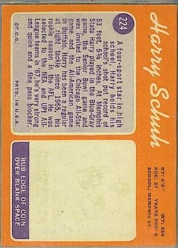 1970 Topps #224 Harry Schuh back image