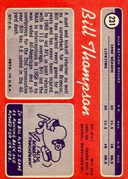 1970 Topps #231 Bill Thompson RC back image