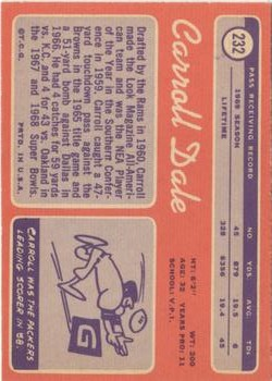 1970 Topps #232 Carroll Dale back image
