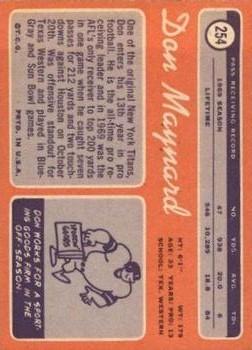 1970 Topps #254 Don Maynard back image