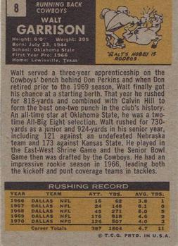 1971 Topps #8 Walt Garrison RC back image