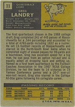 1971 Topps #11 Greg Landry RC back image