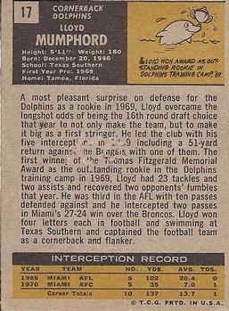 1971 Topps #17 Lloyd Mumphord RC back image