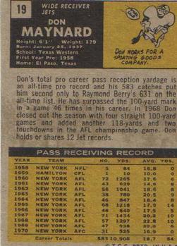 1971 Topps #19 Don Maynard back image