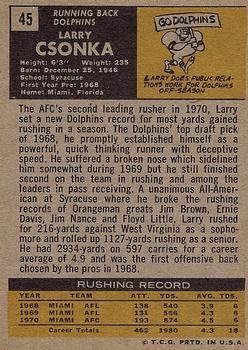 1971 Topps #45 Larry Csonka back image