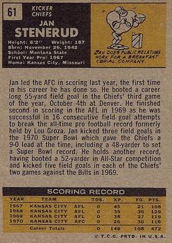 1971 Topps #61 Jan Stenerud back image