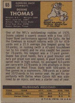 1971 Topps #65 Duane Thomas RC back image