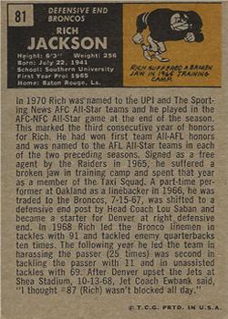 1971 Topps #81 Rich Jackson back image
