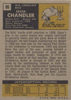 1971 Topps #86 Edgar Chandler RC back image