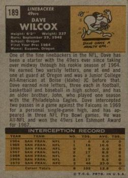 1971 Topps #189 Dave Wilcox back image