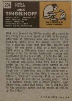 1971 Topps #204 Mick Tingelhoff back image