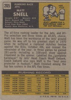 1971 Topps #205 Matt Snell back image