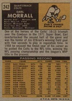 1971 Topps #242 Earl Morrall back image