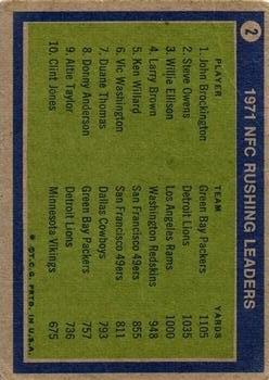 1972 Topps #2 NFC Rushing Leaders/John Brockington/Steve Owens/Willie Ellison back image
