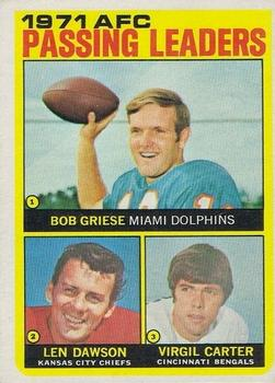 1972 Topps #3 AFC Passing Leaders/Bob Griese/Len Dawson/Virgil Carter
