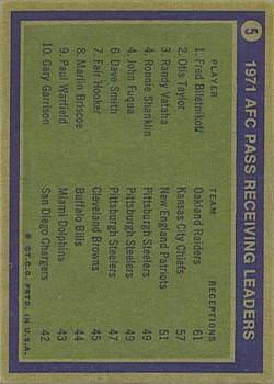 1972 Topps #5 AFC Receiving Leaders/Fred Biletnikoff/Otis Taylor/Randy Vataha back image