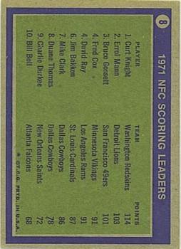 1972 Topps #8 NFC Scoring Leaders/Curt Knight/Errol Mann/Bruce Gossett back image
