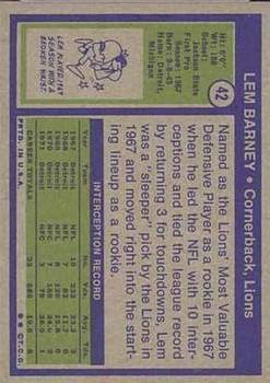 1972 Topps #42 Lem Barney back image