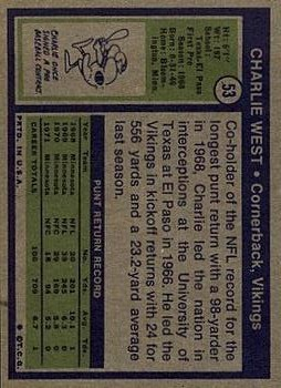 1972 Topps #53 Charlie West RC back image