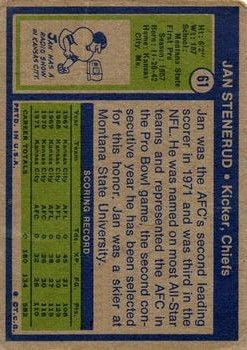 1972 Topps #61 Jan Stenerud back image