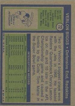 1972 Topps #72 Verlon Biggs back image