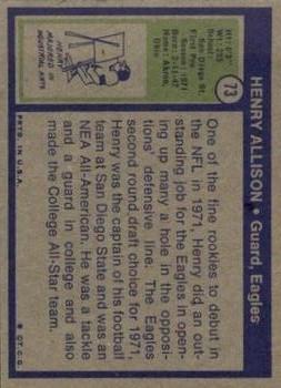 1972 Topps #73 Henry Allison RC back image