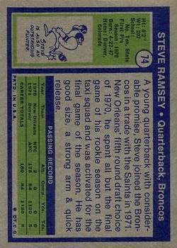 1972 Topps #74 Steve Ramsey RC back image