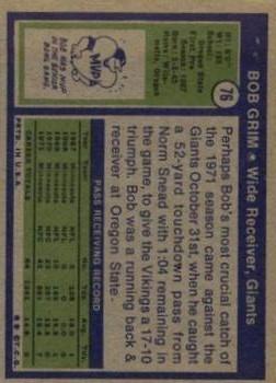 1972 Topps #76 Bob Grim RC back image