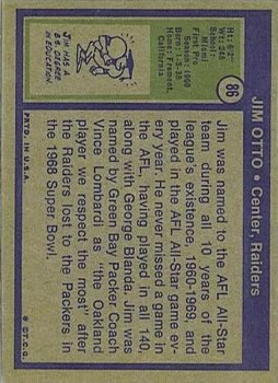 1972 Topps #86 Jim Otto back image