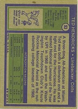 1972 Topps #93 Ted Hendricks RC back image