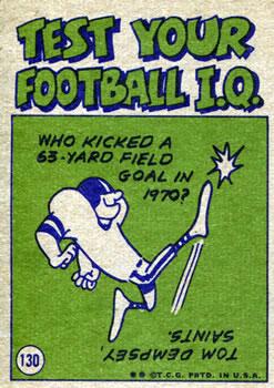 1972 Topps #130 Bill Nelsen IA back image