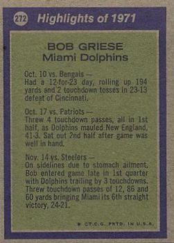 1972 Topps #272 Bob Griese AP back image