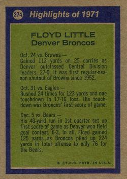 1972 Topps #274 Floyd Little AP back image