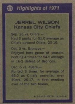 1972 Topps #276 Jerrel Wilson AP back image