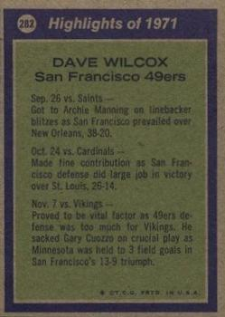 1972 Topps #282 Dave Wilcox AP back image