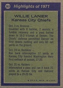 1972 Topps #283 Willie Lanier AP back image
