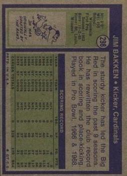 1972 Topps #298 Jim Bakken back image