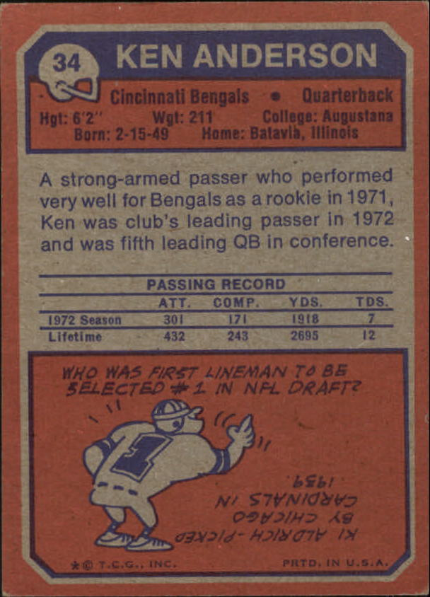 1973 Topps #34 Ken Anderson RC back image