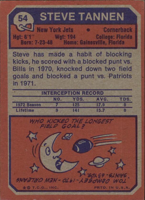 1973 Topps #54 Steve Tannen RC back image