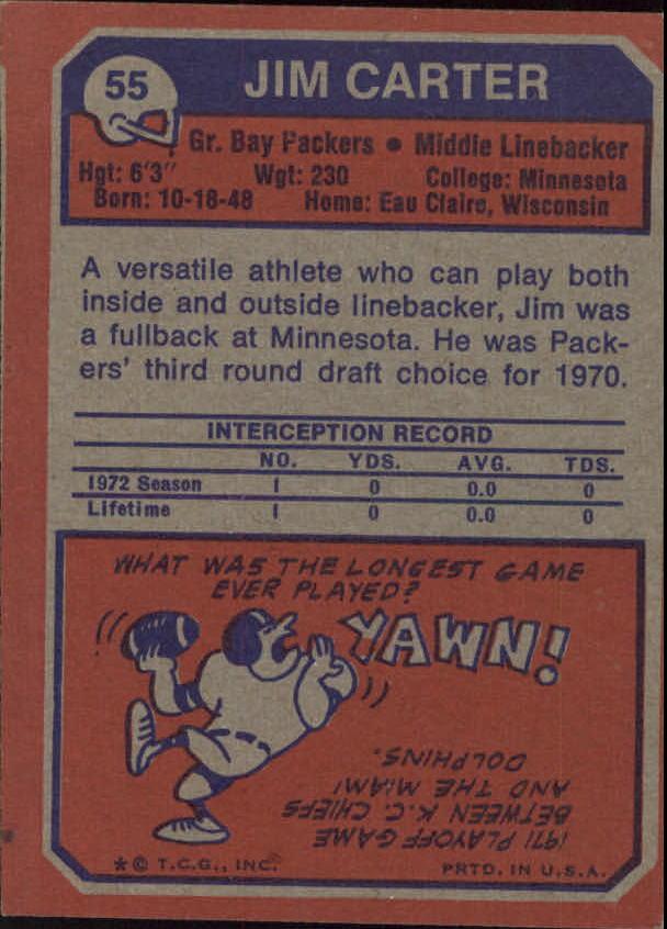 1973 Topps #55 Jim Carter RC back image
