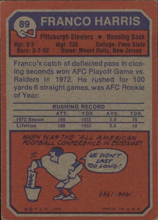 1973 Topps #89 Franco Harris RC back image