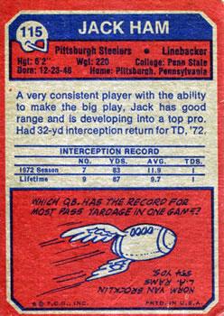 1973 Topps #115 Jack Ham RC back image