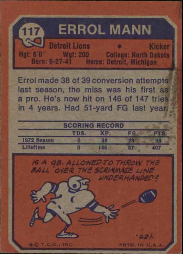 1973 Topps #117 Errol Mann back image