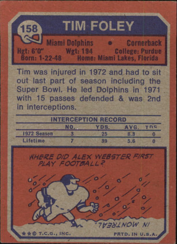 1973 Topps #158 Tim Foley RC back image